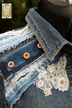 Redesign Denim Jacket, Reuse, Patchwork, Pearls Embroidery.