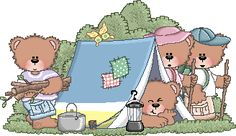 Camping theme books, songs, crafts, recipes & links.