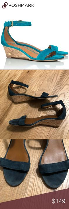 """Tory Burch Turquoise Suede Cork Wedge Sandal Tory Burch Savannah Wedge in Turquoise. Color-saturated suede revs up a classic ankle-strap sandal with a logo-tipped wedge. Approx 1 3/4"""" heel. Adjustable strap with buckle closure. Suede upper/leather lining/rubber sole. First pic is stock. Worn once. Minor wear pictured. EUC.  No trades. If I want something in your closet badly enough, I'll buy it 😍 Reasonable offers always welcome! Tory Burch Shoes Sandals"""