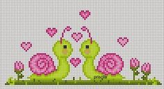 "Cross-stitch Snails in Love... no color chart available, just use pattern chart as your color guide.. or choose your own colors... Delicado Cantinho: Gráficos Ponto Cruz ""Caracóis"""