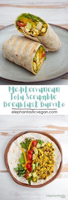 Mediterranean Tofu Scramble Breakfast Burrito via /elephantasticv/