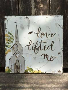 Church painting rustic decor unique gift old hymn church
