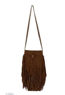 Fringe Drawstring Crossbody Purse in Tan