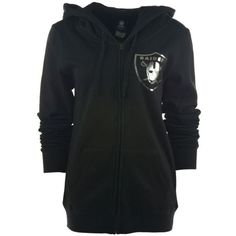 5th & Ocean Women's Oakland Raiders Foil Football Hoodie ($25) ❤ liked on Polyvore featuring tops, hoodies, black, black metallic top, metallic top, black hoodies, black hoodie y black hooded sweatshirt