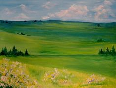 Country Meadow painting from http://www.spiritsandsplatters.com/gallery. Perfect for a girls night out for painting fun.