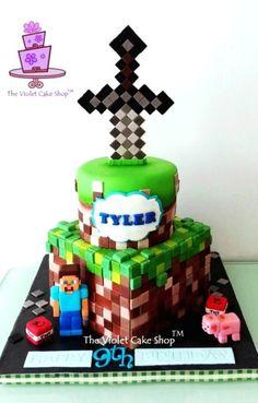 2014 wonderful minecraft sword and steve cake - pig, TNT, 9th birthday - Minecraft sword cake ideas that Minecraft fans must know ! by BigMinecraftFan