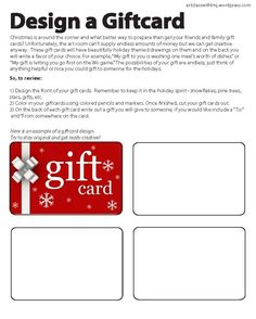 Design a Giftcard: Easy and fun lesson plan (adaptable to any grade) using creativity and holiday spirit - great for when you have a sub or extra time; link to printout included. #giftcards #subplans