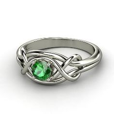 Infinity Knot Ring, Round Emerald White Gold Ring from Gemvara