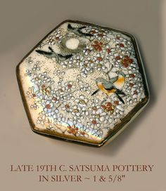 Image Copyright RC Larner ~ Button ~ Large 19th C. Hexagonal Satsuma Pottery Orange-gray Birds In Ivory Tree Blooms at Night in Silver ~  R C Larner Buttons at eBay & Etsy        http://stores.ebay.com/RC-LARNER-BUTTONS and https://www.etsy.com/shop/rclarner