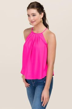 Lena High Neck Pleated Tank. Bright neon pink.