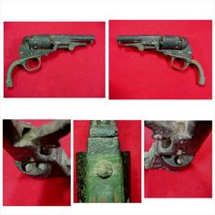 """Excavated .31 cal. Model 1849 Colt Pocket Revolver. This was recovered many years ago along the Confederate Line at the 1864 Battle of Nashville, TN. The revolver is serial number """"202909"""" which is very desirable 1861 production. The brass trigger guard has a pretty green excavated patina, and 3 cylinders are still loaded."""