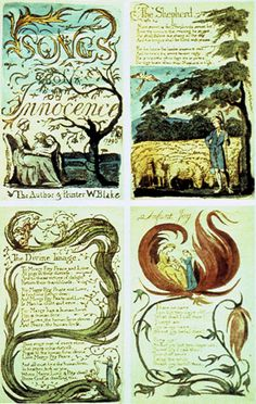 """William Blake. Songs of Innocence: 4 pages. 1789. Cover; Introduction; """"The Divine Image""""; """"Infant Joy"""""""