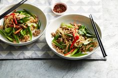Chinese-style rice noodles with chicken, pickled chillies and celery
