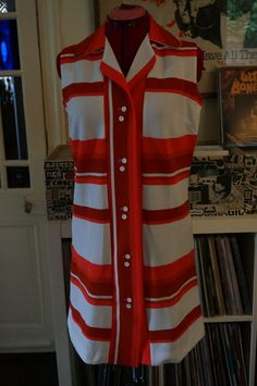 vintage orange red rust white striped button polo dress sleeveless mod scooter twiggy M L 1960 1970 60s 70s 1960s 1970s