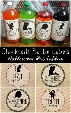 Adorable and Spooky Halloween Shocktails Bottle Labels. Free Halloween p. Adorable and Spooky Halloween Shocktails Bottle Labels. Comida De Halloween Ideas, Dulceros Halloween, Couples Halloween, Halloween Playlist, Halloween Party Supplies, Halloween Drinks, Halloween Food For Party, Halloween Birthday, Holidays Halloween