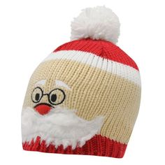 FUNNY JOKE NOVELTY SANTA FACE XMAS CHRISTMAS WOOLLY BEANIE BOBBLE KNIT HAT a48f7a198d6