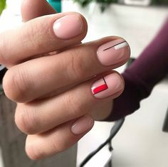 Minimalist nail art Nude black white red combo