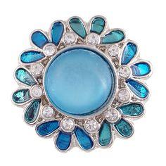1 PC - 18MM Blue Flower Enamel Rhinestone Silver Snap Candy Charm KC6008 CC2091