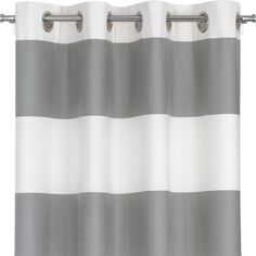 """Crate & Barrel Alston Ivory/Grey 50""""x96"""" Curtain Panel ($100) ❤ liked on Polyvore"""