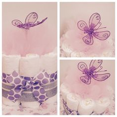 Mini Purple And Silver Butterfly Diaper Cake.. Baby Girl Butterfly Baby Shower Centerpiece