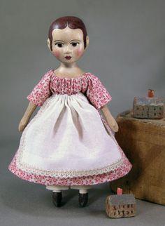 "Ornament Doll Tiny 3"" Izannah Walker style doll in vintage fabrics."