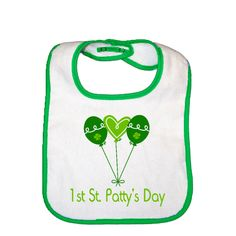 Cute Green Balloons 1st St Pattys Day Kelly Green Infant Snap Bib gift. $9.99