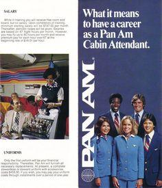 Airlines Past & Present: Pan Am Stewardess Flight Attendant Brochure 1970's & Uniform 1980's