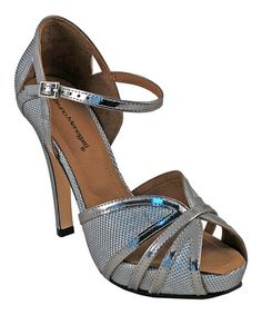 Another great find on #zulily! Silver Texture Leather Peep-Toe Sandal #zulilyfinds
