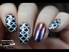 """Mermaid nails done using: China Glaze Liquid Leather G Gal Midnight Lake, Red Night Sky, and Fiery Furnace Nail Experiments Latex Barrier, """"Easy Peel comes i. Mermaid Nail Art, Flat Brush, Body Hacks, Easy Peel, Holographic Nails, China Glaze, Nail Tutorials, Latex, Swatch"""