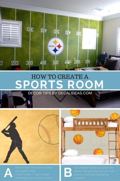 59 Trendy Ideas Kids Room Ideas For Boys Sports Football Theme Bedrooms Football Theme Bedroom, Football Rooms, Basketball Bedroom, Football Themes, Basketball Court, Basketball Rules, Soccer, Basketball Uniforms, Kids Football