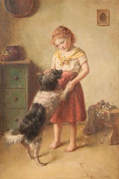 Vintage Repro Postcard: Strawberry Blonde /Red haired Girl w/ Dog, Border Collie