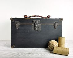 Vintage Wood Tool Chest / Industrial Storage Box / by havenvintage, $48.00