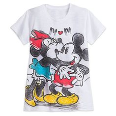 Disney Mickey and Minnie Mouse Slub Tee for Women Size LADIES L White 456202624429 *** Find out more about the great product at the image link.Note:It is affiliate link to Amazon.