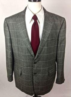 Jos A Bank Blazer 46 Gray Silk Linen Sport Coat Lightweight Jacket 46R Mens #JosABank #TwoButton