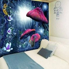 Magic Forest Print Wall Hanging Tapestry - BLUE W79 INCH * L59 INCH #tapestry#homedecor#decor#design