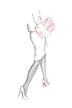 Louboutin and Chanel Watercolor Fashion Illustration Print by Zoia