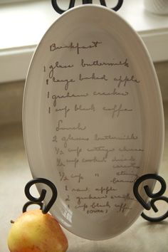 CUSTOM RECIPE PLATE - scan a family recipe and send me the image - perfect thanksgiving centerpiece, holiday gift on Etsy, $45.00