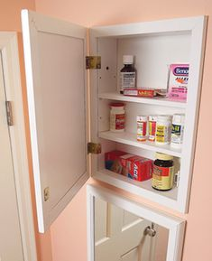I like the idea of multiple medicine cabinets nested in the wall, extra bathroom storage where there is little space.