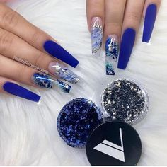 What you need to know about acrylic nails - My Nails Blue Acrylic Nails, Summer Acrylic Nails, Acrylic Nail Designs, Blue Nail Designs, Blue Coffin Nails, Nail Swag, Nagel Bling, Aycrlic Nails, Matte Nails