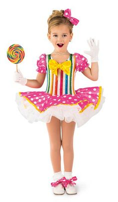 Hologram dot on striped spandex leotard with attached sleeves. Attached polka dot sateen over white tricot tutu. Bow and ribbon trim. Made in the USA / Imported. Bow headpiece and shoe ties included XSC / SC / IC / MC / LC / XLC ACCESSORIES 98-60 Short Nylon Gloves - White Lollipop not available