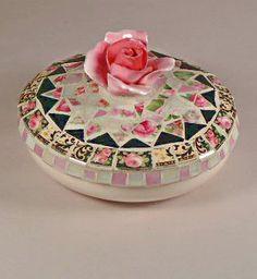 Rose mosaic trinket box