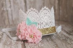 Girls Birthday Crown- First birthday crown headband princess crown adult cake smash crown cake smash headband lace crown pink and gold