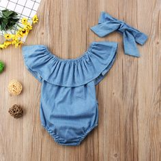 Summer Baby Girls Denim Rompers Set Sleeveless Bodysuit Jumpsuit With Headbands Baby Outfits, Kids Outfits, Summer Outfits, Baby Girl Romper, Baby Girl Newborn, Ruffle Romper, Denim Romper, Ruffle Jumpsuit, Newborn Baby Clothes