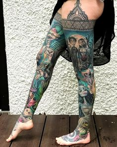 Corpse Bride and Nightmare Before Christmas 'leg sleeves' Leg Sleeve Tattoo, Tattoo Sleeve Designs, Arm Tattoo, Tattoo Girls, Girl Tattoos, Tatoos, Brides With Tattoos, Tattoos For Women, Tattooed Women