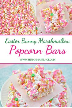 These ooey gooey Easter Bunny Marshmallow Popcorn Bars are simple and fun to make and put a festive spin on the traditional rice krispie treats! Easter Snacks, Easter Appetizers, Easter Treats, Easter Recipes, Easter Desserts, Turkey Recipes, Broccoli Recipes, Steak Recipes, Cod Recipes