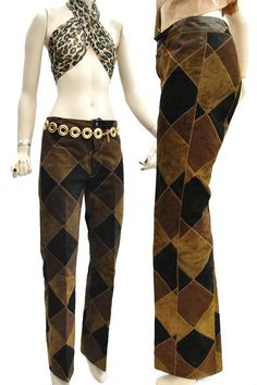 Vintage #1970s Patchwork Leather Flared Jeans by Cordoba. #NorthBeach #Festival #RockStar