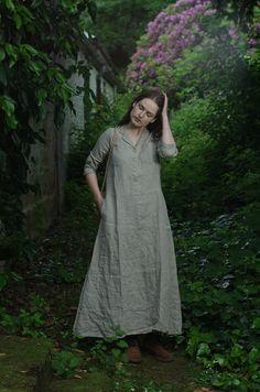 Long Work Dress. Natural Linen by KnockKnockLinen on Etsy