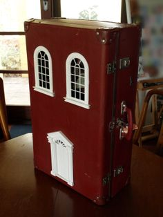 Suitcase Dollhouse: Vintage Red Suitcase Upcycled into Dollhouse