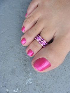 Purple Passion Bead Stretchable Toe Ring by FancyFeetBoutique, $2.25