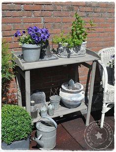 DIY Greywash garden table - vergrijsd pottafeltje